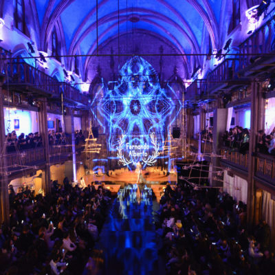 NEW YORK, NY - FEBRUARY 10:  General view from upstairs during New York Fashion Week Art Hearts Fashion NYFW FW/17 at The Angel Orensanz Foundation on February 10, 2017 in New York City.  (Photo by Arun Nevader/Getty Images for Art Hearts Fashion)